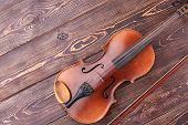Stringed Instrument Of Orchestra. Vintage Violin, Bow And Copy Space. Classical Instrument Of Sympho poster