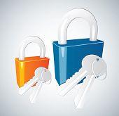 Padlock and key vector icon