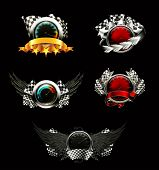 Set of racing emblems, on black