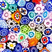 stock photo of marquetry  - Colorful modern glass art texture composed of different vivid color flower - JPG