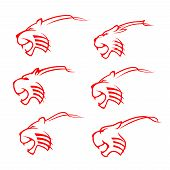 Tiger Animal Icons, Red Wild Cat Silhouette Mascot Design. Danger Wildlife Predator Head Symbol Of P poster