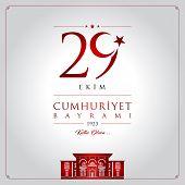 29 Ekim Cumhuriyet Bayrami Vector Illustration. (29 October, Republic Day Turkey Celebration Card.) poster
