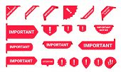 Important Notice Information Banner Label Set. Vecto Red Caution Sign For Web Page Design poster