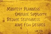Manifest Plainness, Embrace Simplicity, Reduce Selfishness, Have Few Desires - Ancient Chinese Philo poster