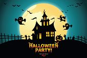 Halloween Night Background With Pumpkin, Haunted House And Full Moon. poster