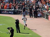 Giants Barry Zito Runs On To The Field During Introduction