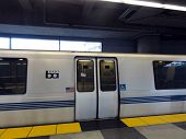 Bart Train Parked At Sfo Station