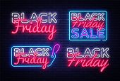 Big Collectin Neon Signs For Black Friday. Neon Banner Vector. Black Friday Neon Sign, Design Templa poster
