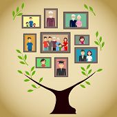 Family Tree With Portraits Of Family Members. A Real Family Tree With Photos. Flat Design, Vector Il poster