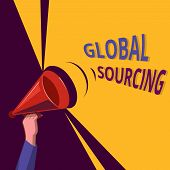 Conceptual Hand Writing Showing Global Sourcing. Business Photo Showcasing Practice Of Sourcing From poster