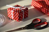 Christmas Gift Wrapping Background, Copy Space. Present Box Wrapped In Kraft, Top View. Winter Holid poster