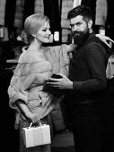 Elegance And Glamour Concept. Guy With Beard And Woman poster