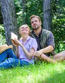 Couple Soulmates At Romantic Date. Romantic Couple Students Enjoy Leisure Looking Upwards Observing  poster