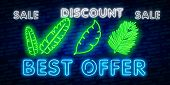 Palm Leaves. Glowing Sign Of Coconut Palm Exotic Leaves. Neon Tropical Palms. Sale Isolated On Black poster