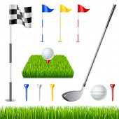 stock photo of dimples  - Golf icon set - JPG
