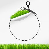 Vector scissors cut round sticker. Green grass