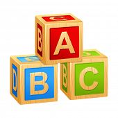 alphabet cubes with letters A,B,C