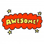 hand drawn doodle style cartoon awesome sign poster