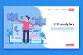 Seo Analytics Landing Page. Search Engine Optimization Analysis Concept. It Specialist Works With An poster