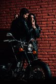 Leather Fashion. Fashion Couple In Leather Jacket. Leather Fashion For Biker Couple. Leather Fashion poster