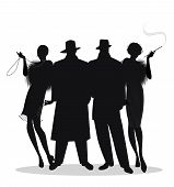 Silhouettes Of Two Men And Two Flapper Girls 20s Style Isolated On White Background. Roaring Twentie poster