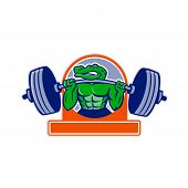 Mascot Icon Illustration Of An Alligator, Gator, Crocodile Or Croc Lifting A Heavy Barbell Weight Tr poster