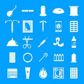 Contraception Day Control Pill Medication Oral Test Icons Set. Simple Illustration Of 25 Contracepti poster