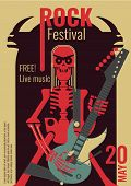 Rock Music Live Festival Poster Illustration For Free Entry Placard To Rock Concert. Design Template poster