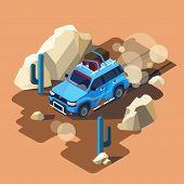 Isometric Safari Car Riding Through Dusty Desert Cactus Landscape. Blue Offroad Vehicle Adventure, T poster