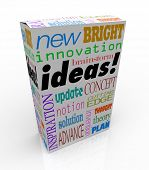 The word Ideas on a product box you could buy at a store for instant inspiration, innovation, concep