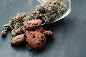 Baking With The Addition Of Cbd. Sweets With Weed. Chocolate Cookies With Marijuana. Sweets With Can poster