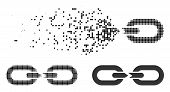 Chain Break Icon In Dispersed, Pixelated Halftone And Original Versions. Particles Are Combined Into poster