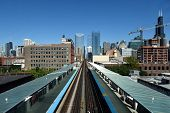 Pair Of Chicago Elevated Train Tracks Running Parallel Off To The Horizon With The Chicago Skyline S poster