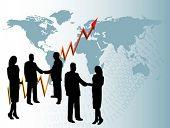 Un grupo de vector de empresarios en silueta estrecharme la mano frente a un año de mostrar gráfico en