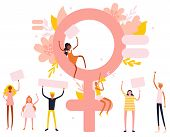 Small Characters Girl And Boy Feminists And Big Venus Symbol, Trendy Illustration poster