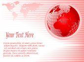 Un fondo de vector rojo abstracto con un globo de malla de alambre sobre una base de rayas rosa con espacio para texto