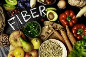 High Fiber Foods On A Wooden Background. Flat Lay Food Highest In Fiber. Healthy Diet Eating. Top Vi poster