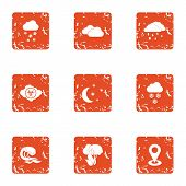 Climate Control Icons Set. Grunge Set Of 9 Climate Control Icons For Web Isolated On White Backgroun poster