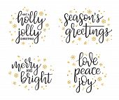 Christmas Greetings Calligraphic Lettering Set. Handwriting For Cards, Gift Tags, Photo Overlays poster