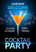Cocktail Invitation Design Poster. Cocktail Party Drink Banner Card Or Flyer Template Vector. poster