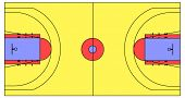 An exact scale vector basketball court illustration with NBA, NCAA and FIBA lines. can be scaled to