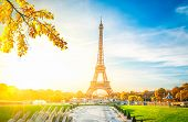 Eiffel Tower From Trocadero At Fall Sunrise, Paris, France, Retro Toned poster