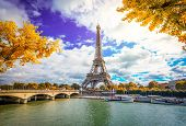 Eiffel Tower And Pont Diena With Yellow Autumn Tree, Paris France poster