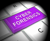 Cyber Forensics Computer Crime Analysis 3D Rendering poster