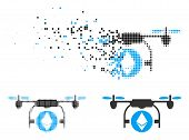 Ethereum Airdrone Icon In Dispersed, Dotted Halftone And Whole Variants. Particles Are Grouped Into  poster