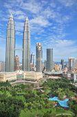 Petronas towers of Kuala Lumpur and gardens