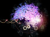 picture of nanotechnology  - Interplay of molecular structures lights and abstract graphic elements on the subject of modern technology science chemistry biology genetics and nanotechnology - JPG