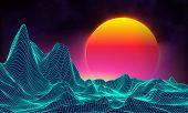 Retro Background Futuristic Landscape 1980s Style. Digital Retro Landscape Cyber Surface. Retro Musi poster