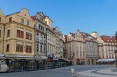 Old Town Square (Staromestske Namesti) and cafes; Prague, Czech Republic