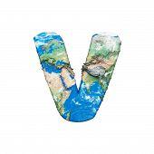 World Earth Globe Alphabet Letter V Uppercase. Global Worldwide Font With Nasa Map. 3d Render Isolat poster